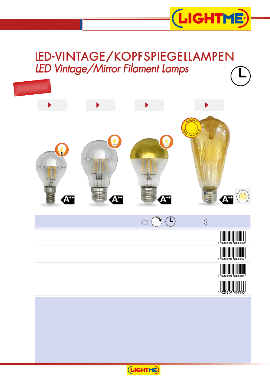 2700K 2,5=25W//E14//250lm LightMe LM85130 LED Kerze Filament Vintage Clear A+