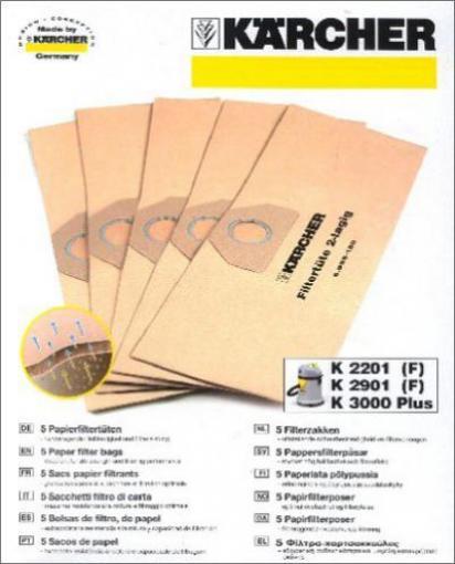 5 Original Staubsaugerbeutel 6.959-130  für Kärcher A 2251 Me F1
