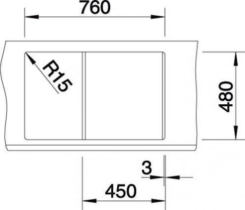 anthrazit 45 cm Unterschrank Blanco K/üchesp/üle Metra 513035