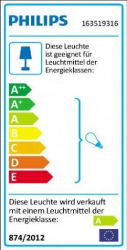 anthrazit Philips myGarden Wandleuchte Bridge 163519316 H/öhe 21 cm 15W energiesparend