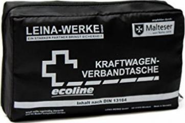 Rot//Schwarz//Wei/ß Leina Werke 11060 KFZ-Verbandtasche Compact Ecoline mit Warnweste und Klett