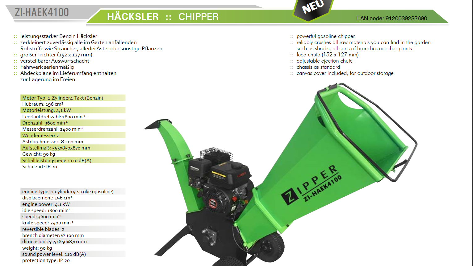Zipper Häcksler ZI-HAEK4100